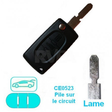 Boitier coque de clé 3 boutons (coffre) pour Peugeot 607