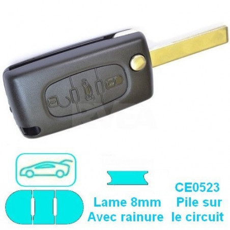 Télécommande plip 3 boutons (coffre) pour Citroën Jumpy