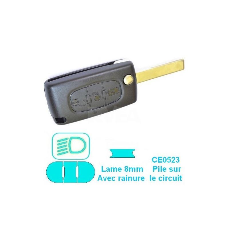 Boitier coque de clé 3 boutons (phares) pour Peugeot Expert