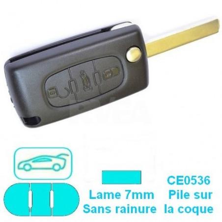 Télécommande plip 3 boutons (coffre) pour Peugeot CE0536 lame 7mm