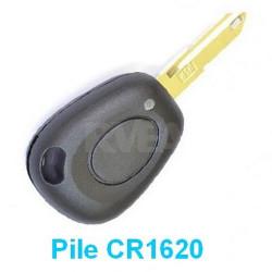 Coque de clé 1 bouton Pile CR1620 pour Renault