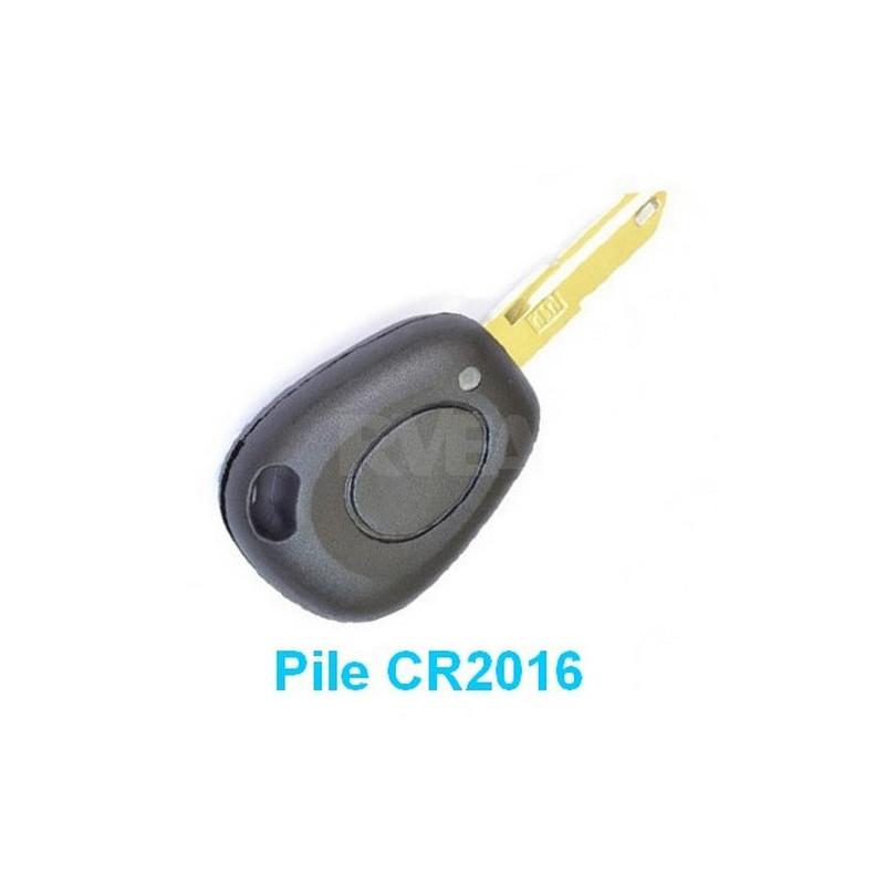 Coque de clé 1 bouton Pile CR2016 pour Renault