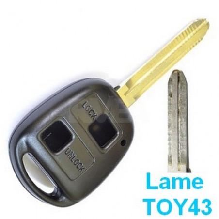 Coque de clé 2 boutons Toyota Rav4, Land Cruiser, Yaris