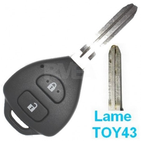 Coque de clé 2 boutons Toyota iQ, RAV 4,